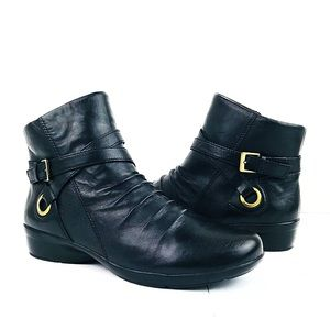 Naturalizer Black Leather Moto Ankle Boots